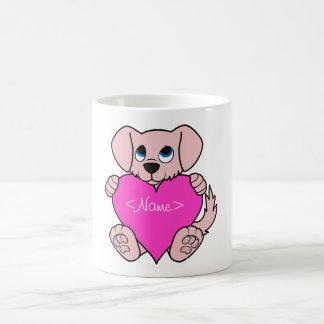Valentine's Day Pink Dog with Heart Coffee Mug