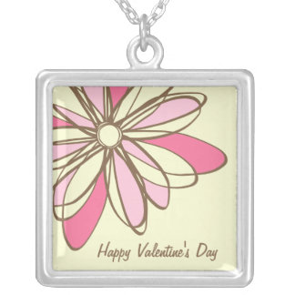 Valentine's Day Pink Flower Custom Necklace