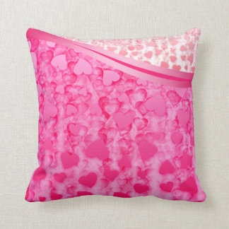 Valentine's day pink glowing hearts rain pillow throw cushions