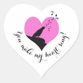 Valentine's Day Pink Heart Song Heart Sticker