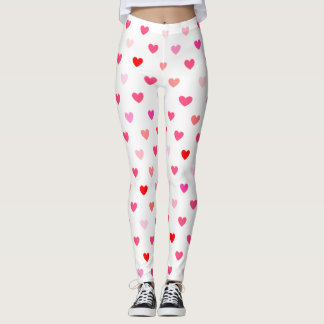 Valentines Day Pink & Red Hearts Leggings