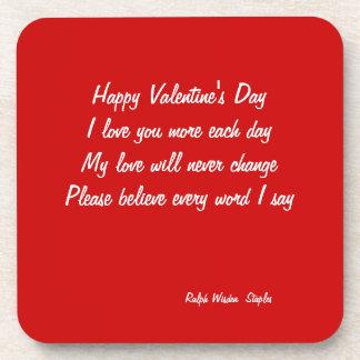 Valentine's day poem beverage coaster