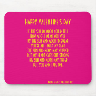 VALENTINE'S DAY POEM MOUSE PAD