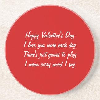 Valentine's day poem sandstone coaster