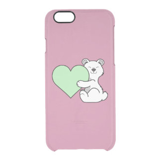 Valentine's Day Polar Bear with Light Green Heart Clear iPhone 6/6S Case