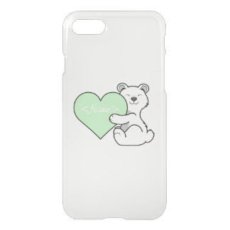 Valentine's Day Polar Bear with Light Green Heart iPhone 7 Case