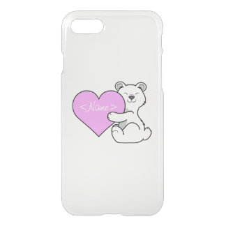 Valentine's Day Polar Bear with Light Pink Heart iPhone 7 Case