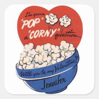 Valentines Day Popcorn Custom NAME Sticker Label