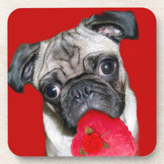 Valentine's Day pug cork coasters
