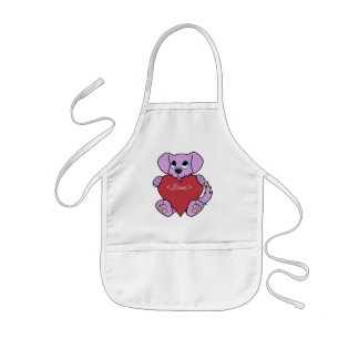 Valentine's Day Purple Dog with Red Heart Kids Apron
