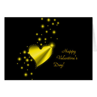 Valentine's Day -Rainbow Heart with Stars on black Greeting Card