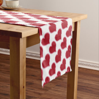 Valentine's Day Red And White Heart Pattern Love Short Table Runner