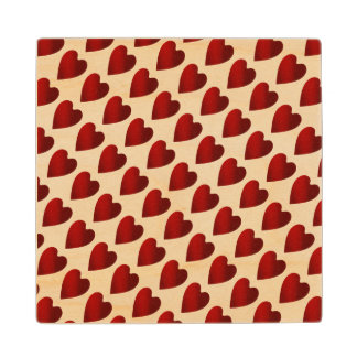 Valentines Day red heart pattern Wood Coaster