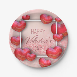 Valentine's Day Red Hearts Glitter Paper Plate