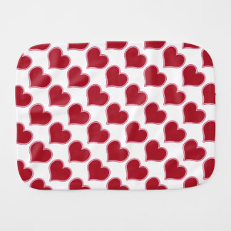 Valentine's Day Red Hearts Pattern Baby Burp Cloths
