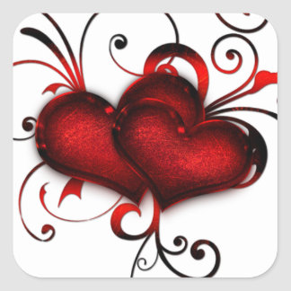 Valentine's Day Red Hearts With Curls Square Sticker