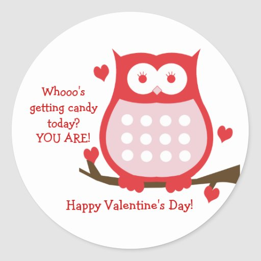 Valentine's Day Red Owl Candy Favor Sticker
