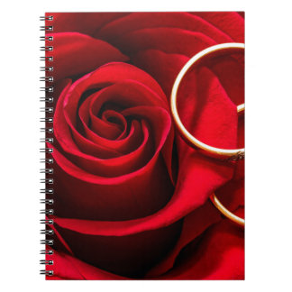 Valentine's Day Red Rose and Wedding Rings Notebook