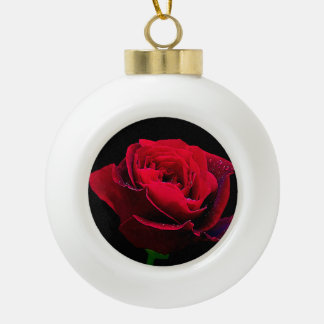 Valentines Day Red Rose Ceramic Ball Decoration