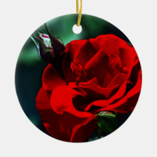 Valentines day red rose ornament