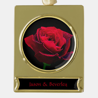 Valentines Day Red Rose Gold Plated Banner Ornament