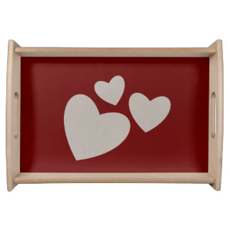 Valentine's Day Red with Beige Hearts Serving Tray