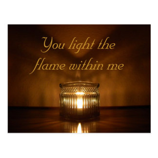 Valentine's day romantic candle glow postcard
