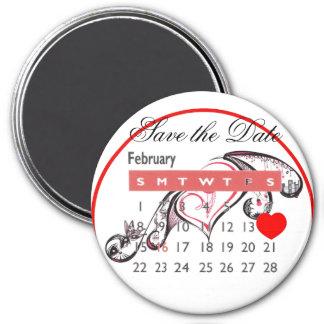 Valentine's Day Save the Date Cute Calendar 7.5 Cm Round Magnet