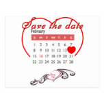 Valentine's Day Save the Date Cute Calendar Post Card