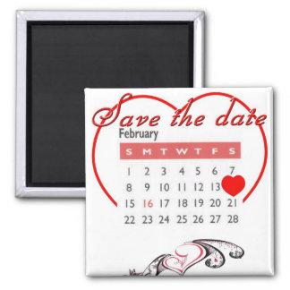 Valentine's Day Save the Date Cute Calendar Square Magnet