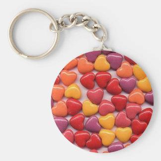Valentine's Day Shiny Candy Hearts Basic Round Button Key Ring