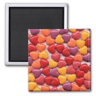 Valentine's Day  Shiny Candy Hearts Square Magnet