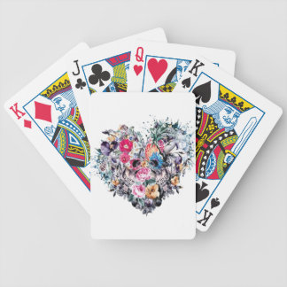 Valentine's day skull with hearts bicycle playing cards
