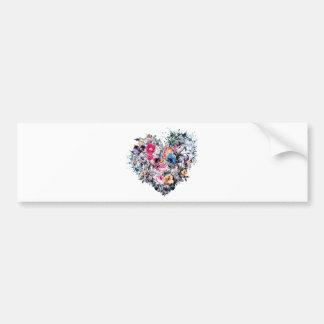 Valentine's day skull with hearts bumper sticker
