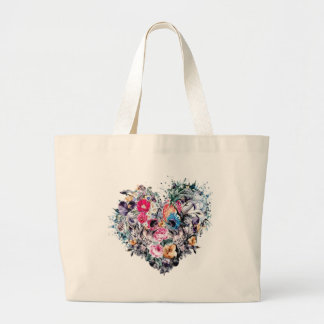 Valentine's day skull with hearts large tote bag