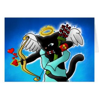 Valentine's Day Smokey Grey Cupid Cat Card