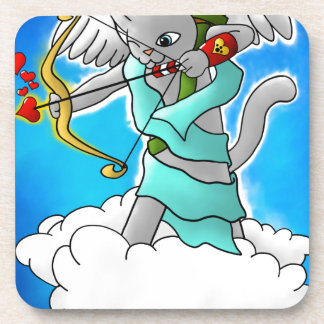 Valentine's Day Smokey Grey Cupid Cat Coaster