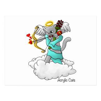 Valentine's Day Smokey Grey Cupid Cat Postcard