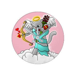 Valentine's Day Smokey Grey Cupid Cat Round Clock