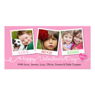 Valentine's Day Snapshots Love, Hugs, Kisses Pink Customized Photo Card
