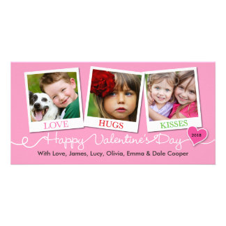 Valentine's Day Snapshots Love, Hugs, Kisses Pink Customised Photo Card