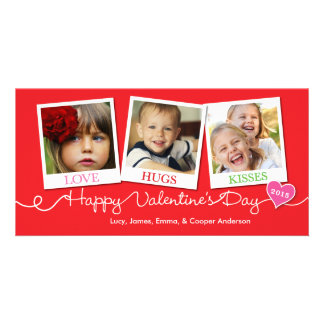 Valentine's Day Snapshots Love Hugs Kisses Red Custom Photo Card