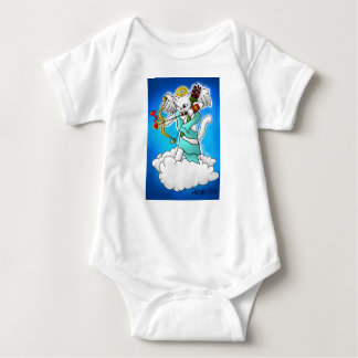 Valentine's Day Snow White Cupid Cat Baby Bodysuit