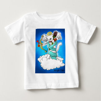 Valentine's Day Snow White Cupid Cat Baby T-Shirt
