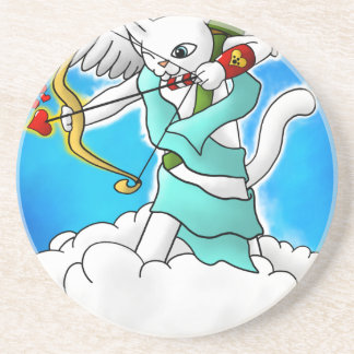 Valentine's Day Snow White Cupid Cat Coaster