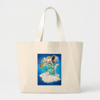 Valentine's Day Snow White Cupid Cat Large Tote Bag