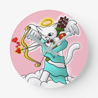 Valentine's Day Snow White Cupid Cat Round Clock