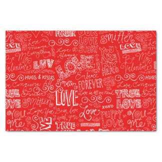 Valentine's Day True Love Verse Red Tissue Paper