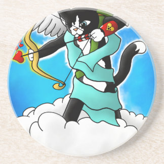Valentine's Day Tuxedo Cupid Cat Coaster