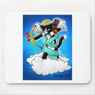 Valentine's Day Tuxedo Cupid Cat Mouse Pad